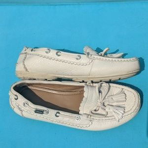 White leather Coach moccasin shoe